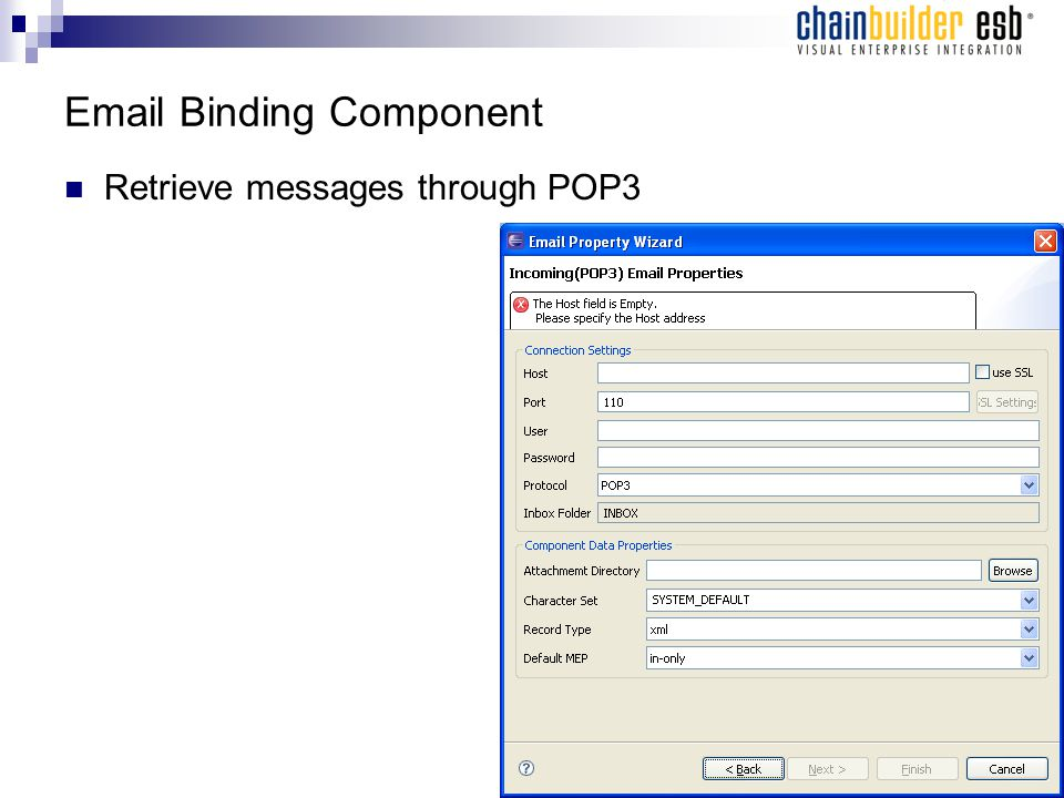 Email Binding Component Retrieve messages through POP3