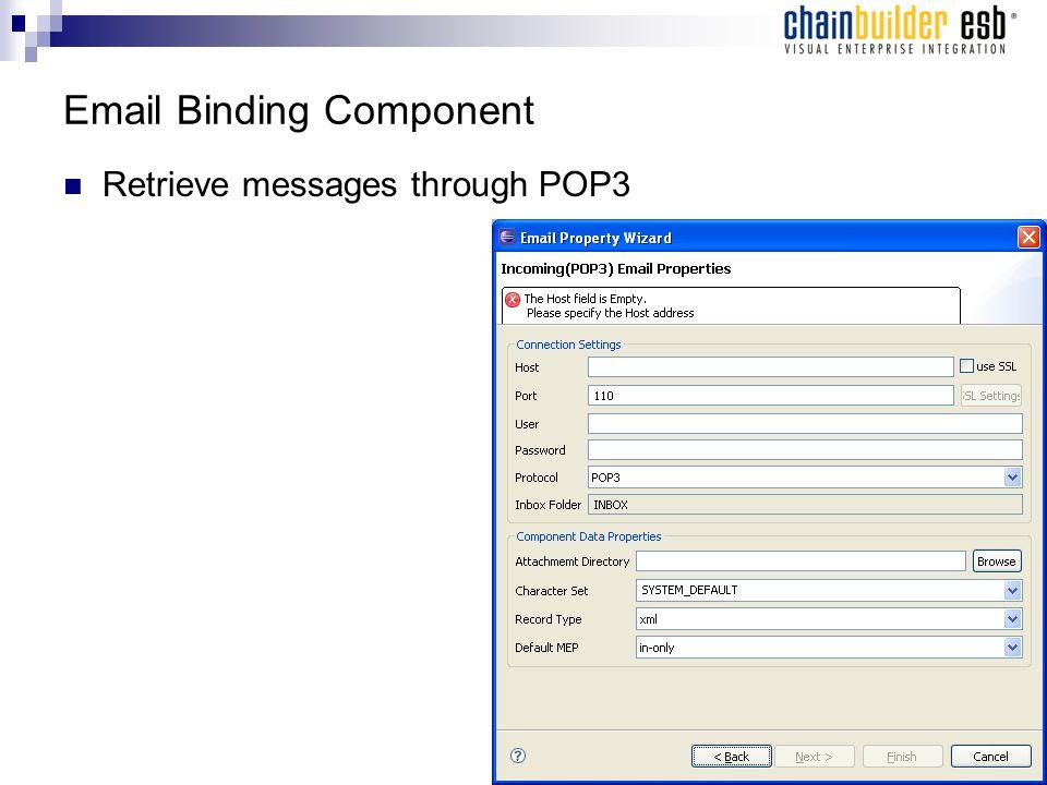 Email Binding Component Retrieve messages through POP3