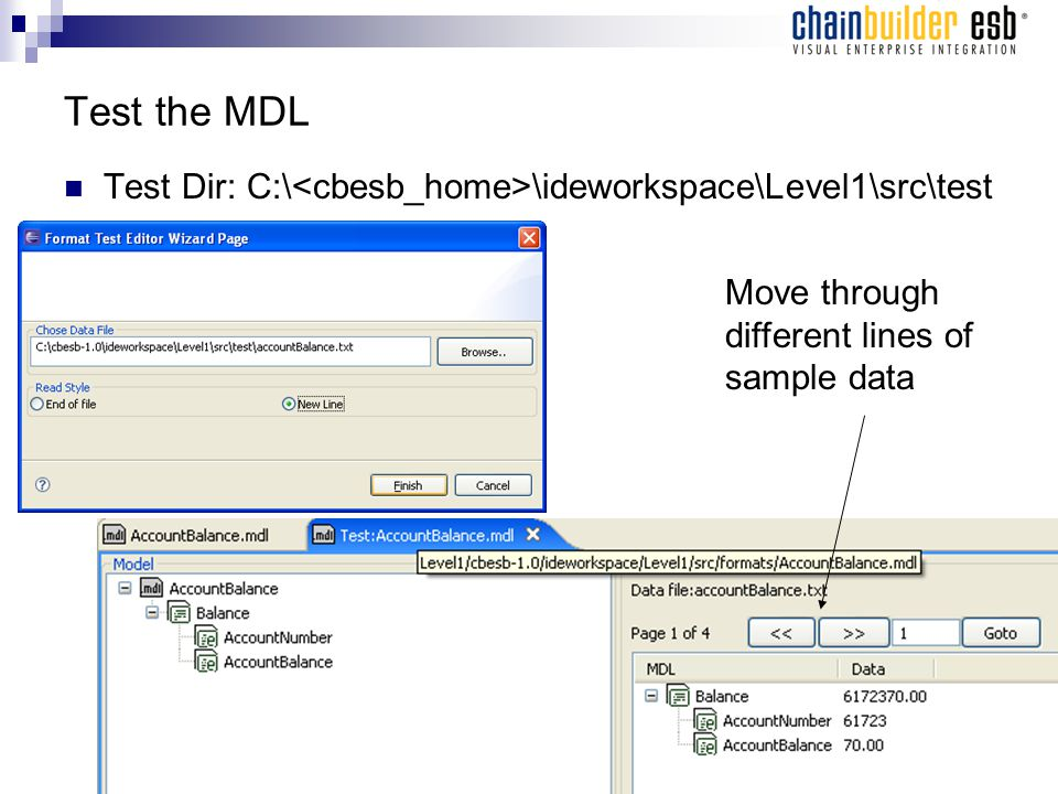 Test the MDL Test Dir: C:\ \ideworkspace\Level1\src\test Move through different lines of sample data