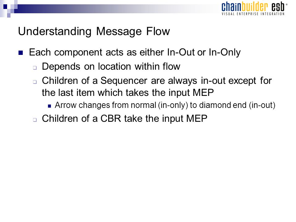 Understanding Message Flow Each component acts as either In-Out or In-Only  Depends on location within flow  Children of a Sequencer are always in-out except for the last item which takes the input MEP Arrow changes from normal (in-only) to diamond end (in-out)  Children of a CBR take the input MEP