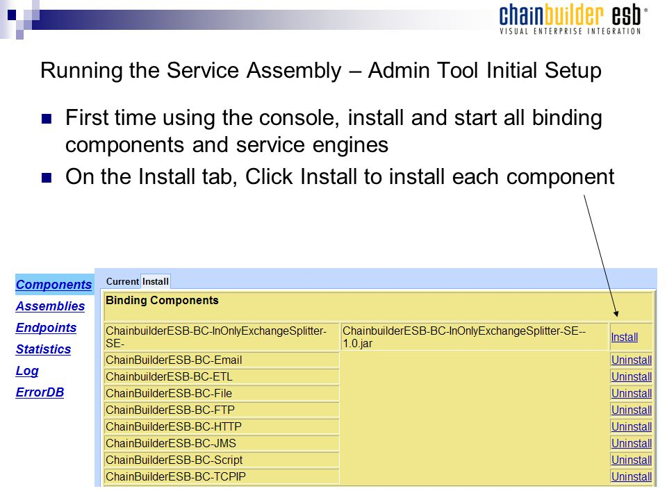 Running the Service Assembly – Admin Tool Initial Setup First time using the console, install and start all binding components and service engines On