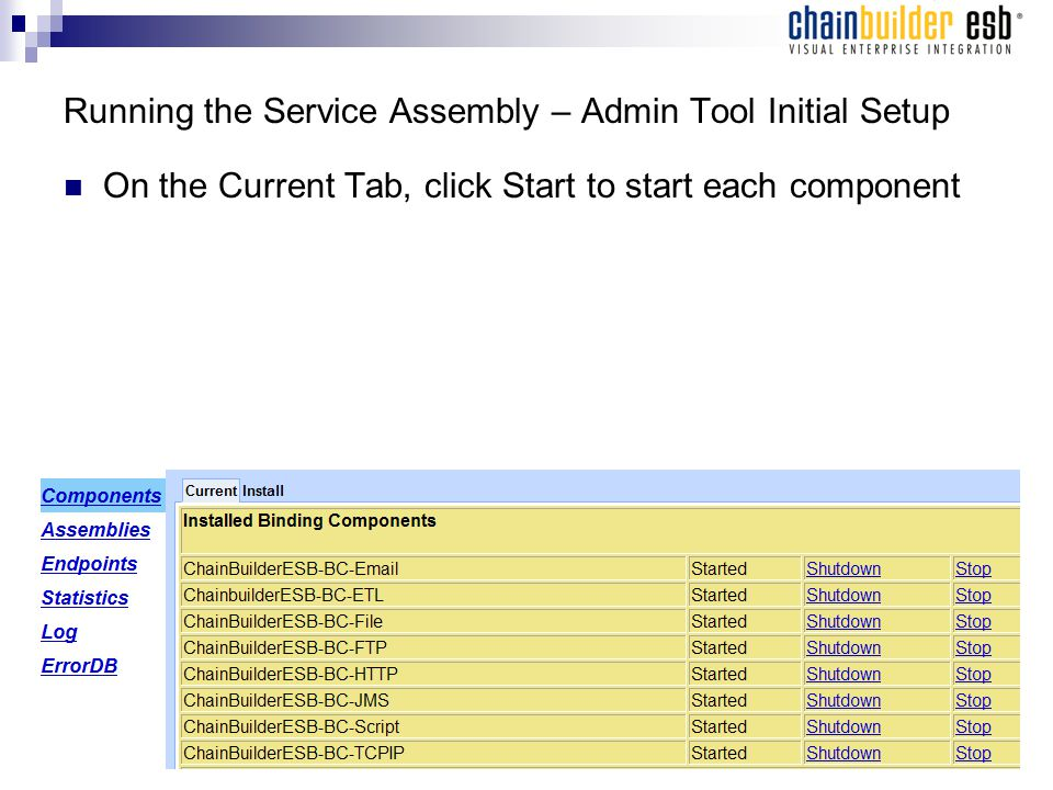 Running the Service Assembly – Admin Tool Initial Setup On the Current Tab, click Start to start each component