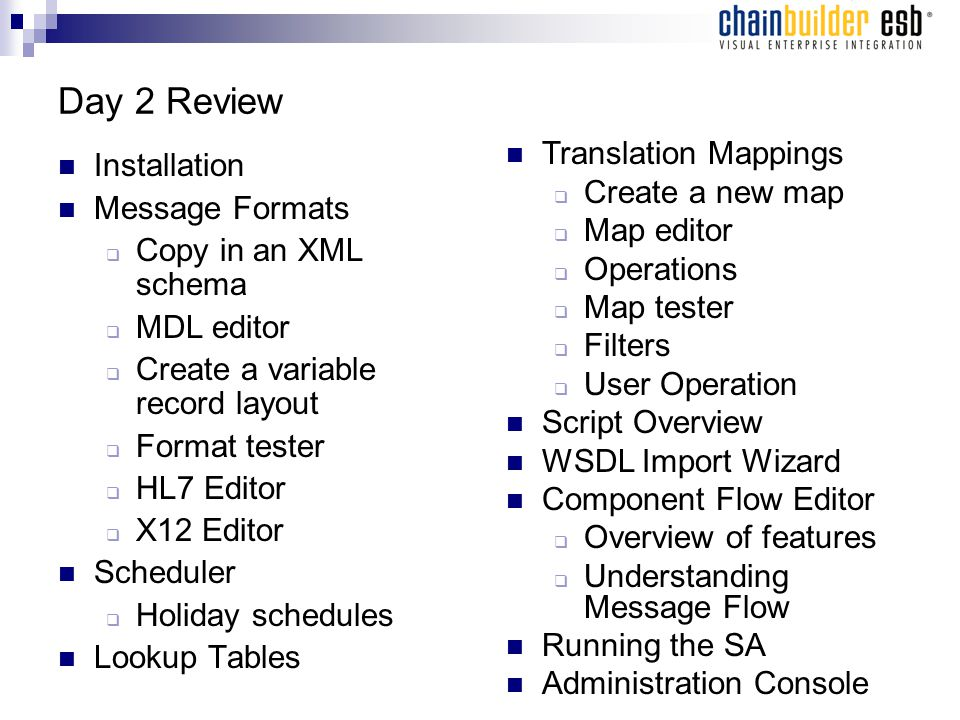 Day 2 Review Installation Message Formats  Copy in an XML schema  MDL editor  Create a variable record layout  Format tester  HL7 Editor  X12 Editor Scheduler  Holiday schedules Lookup Tables Translation Mappings  Create a new map  Map editor  Operations  Map tester  Filters  User Operation Script Overview WSDL Import Wizard Component Flow Editor  Overview of features  Understanding Message Flow Running the SA Administration Console