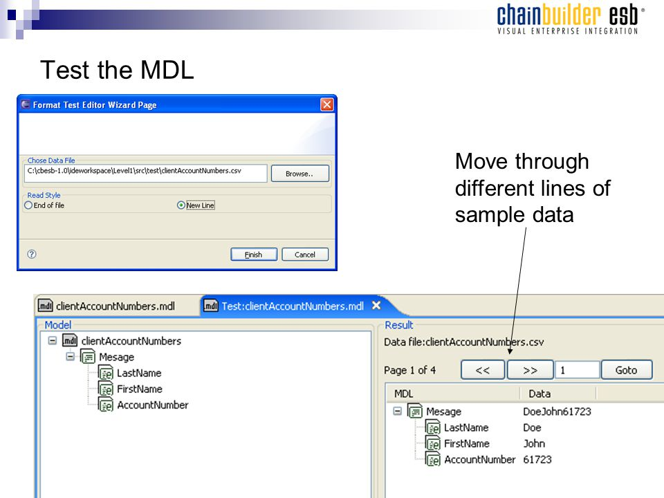 Test the MDL Move through different lines of sample data