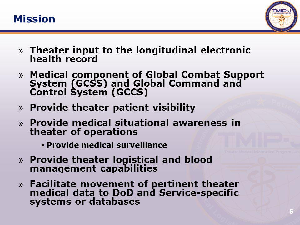 6 Mission Pillars Electronic Health Record Command & Control Medical Logistics Patient Movement