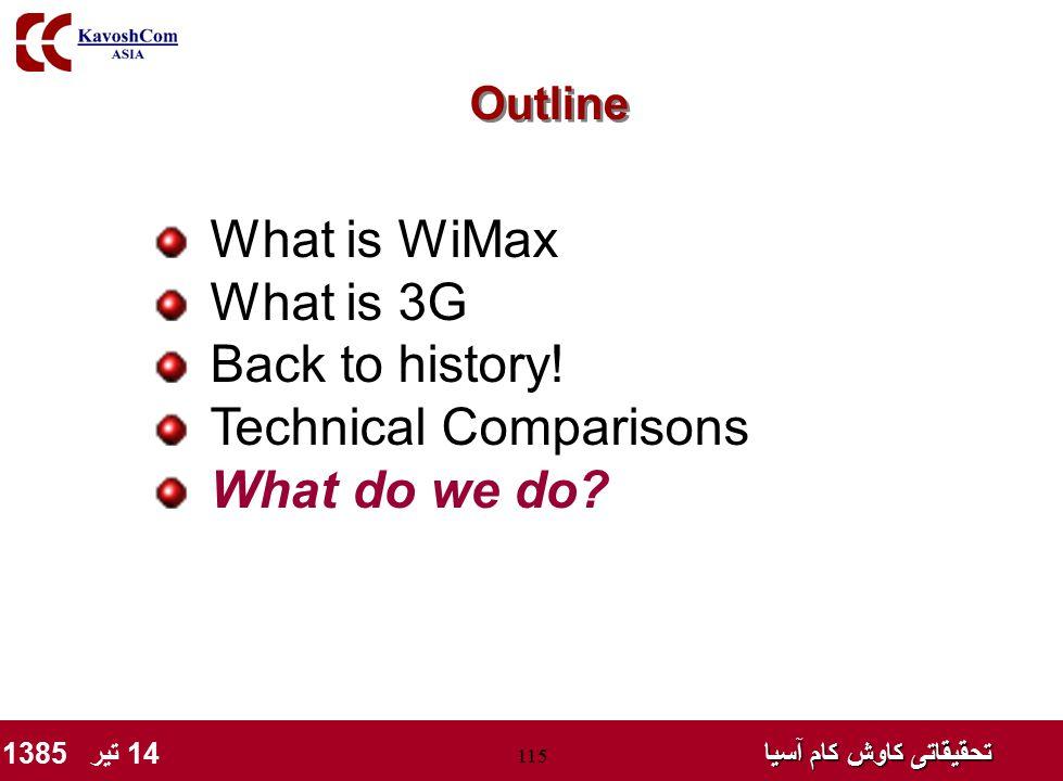 تحقیقاتی کاوش کام آسیا تحقیقاتی کاوش کام آسیا 14 تیر 1385 115 What is WiMax What is 3G Back to history! Technical Comparisons What do we do? Outline