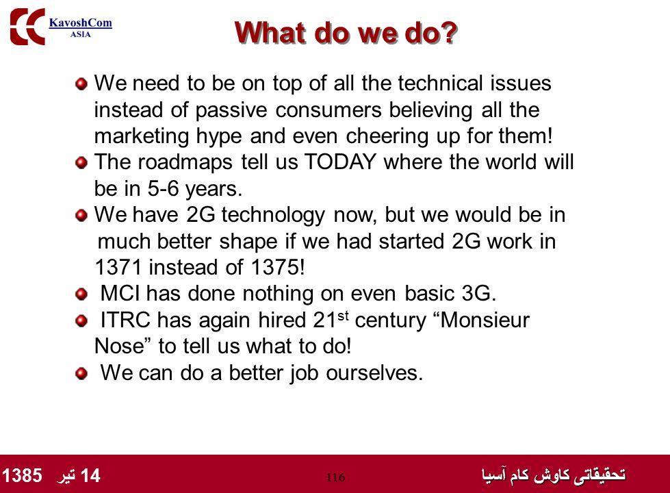 تحقیقاتی کاوش کام آسیا تحقیقاتی کاوش کام آسیا 14 تیر 1385 116 What do we do? We need to be on top of all the technical issues instead of passive consu