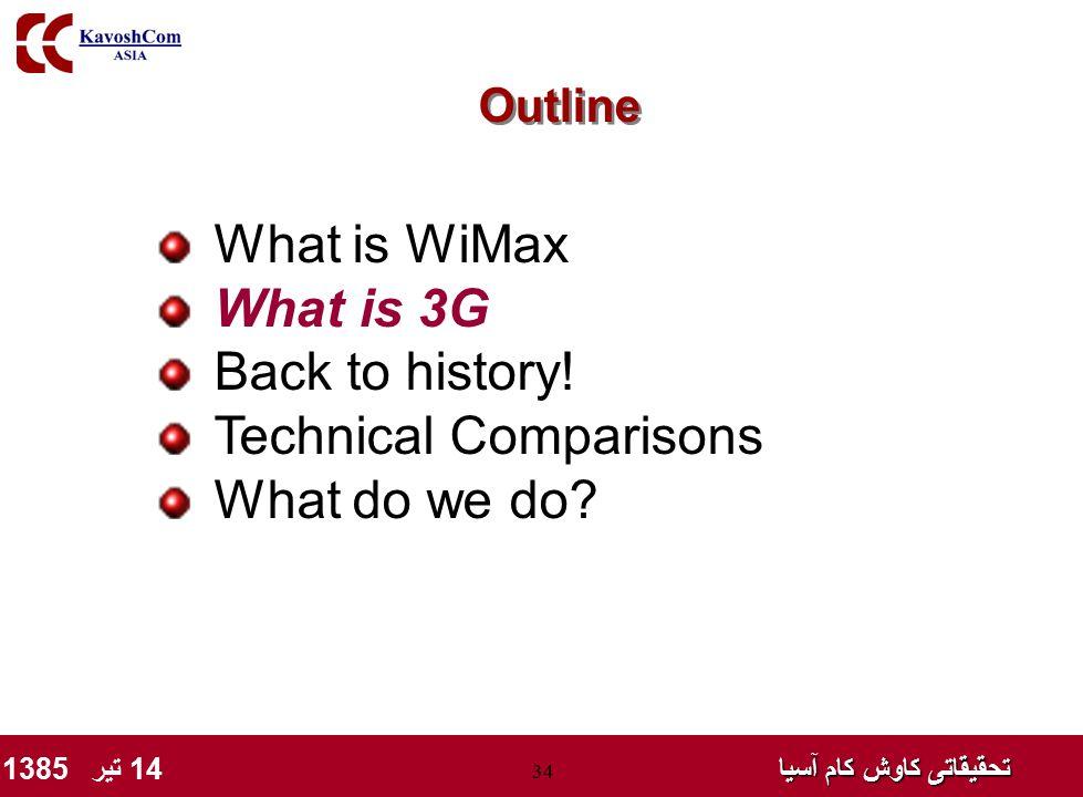 تحقیقاتی کاوش کام آسیا تحقیقاتی کاوش کام آسیا 14 تیر 1385 34 What is WiMax What is 3G Back to history! Technical Comparisons What do we do? Outline