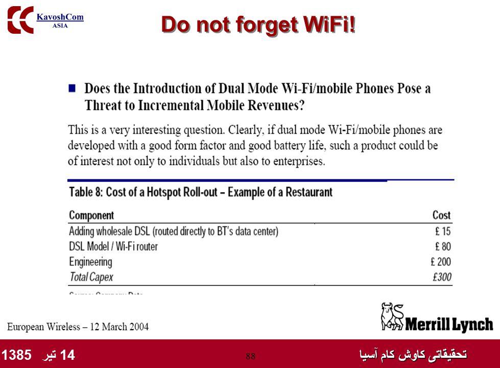 تحقیقاتی کاوش کام آسیا تحقیقاتی کاوش کام آسیا 14 تیر 1385 88 Do not forget WiFi!