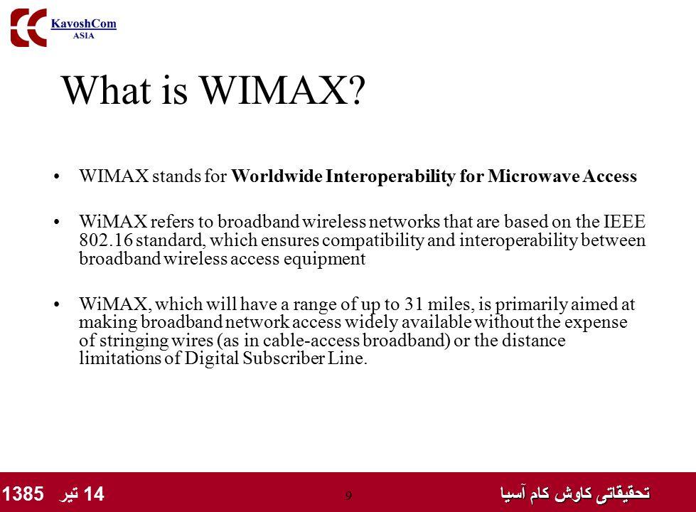 تحقیقاتی کاوش کام آسیا تحقیقاتی کاوش کام آسیا 14 تیر 1385 9 What is WIMAX? WIMAX stands for Worldwide Interoperability for Microwave Access WiMAX refe