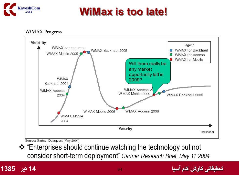 "تحقیقاتی کاوش کام آسیا تحقیقاتی کاوش کام آسیا 14 تیر 1385 94 WiMax is too late!  ""Enterprises should continue watching the technology but not conside"