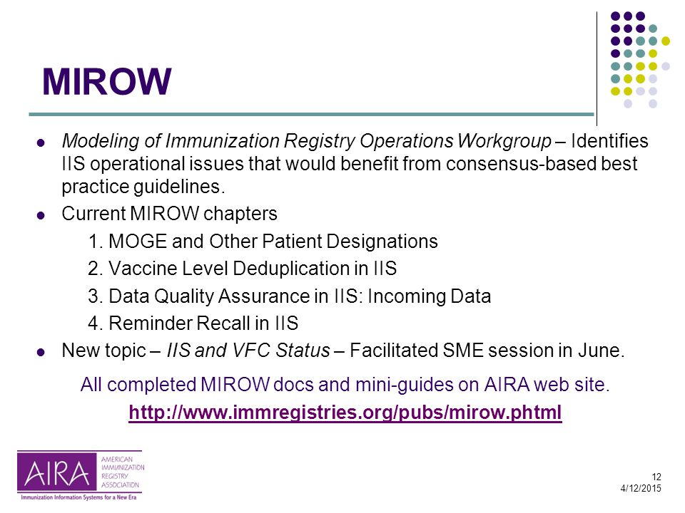 12 4/12/2015 MIROW Modeling of Immunization Registry Operations Workgroup – Identifies IIS operational issues that would benefit from consensus-based