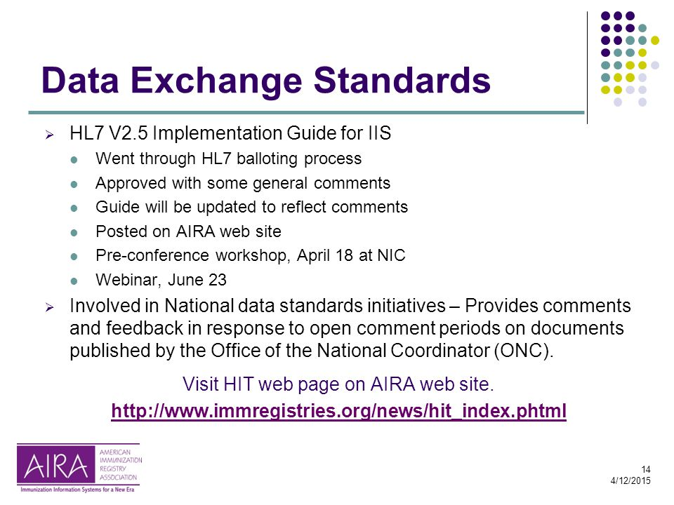 14 4/12/2015  HL7 V2.5 Implementation Guide for IIS Went through HL7 balloting process Approved with some general comments Guide will be updated to reflect comments Posted on AIRA web site Pre-conference workshop, April 18 at NIC Webinar, June 23  Involved in National data standards initiatives – Provides comments and feedback in response to open comment periods on documents published by the Office of the National Coordinator (ONC).