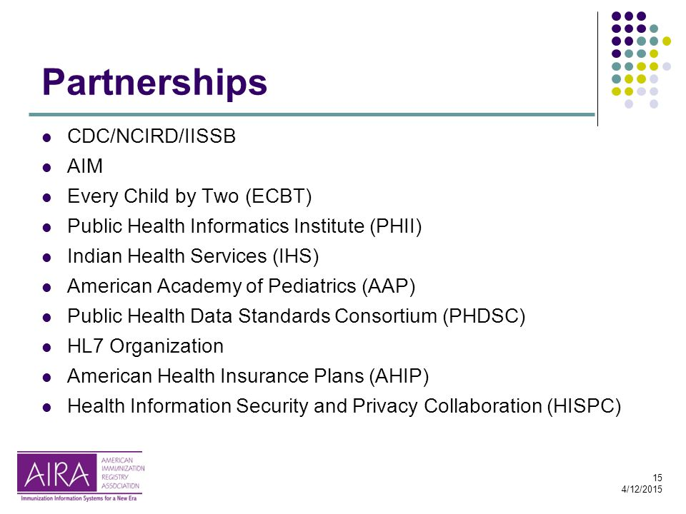 15 4/12/2015 Partnerships CDC/NCIRD/IISSB AIM Every Child by Two (ECBT) Public Health Informatics Institute (PHII) Indian Health Services (IHS) Americ