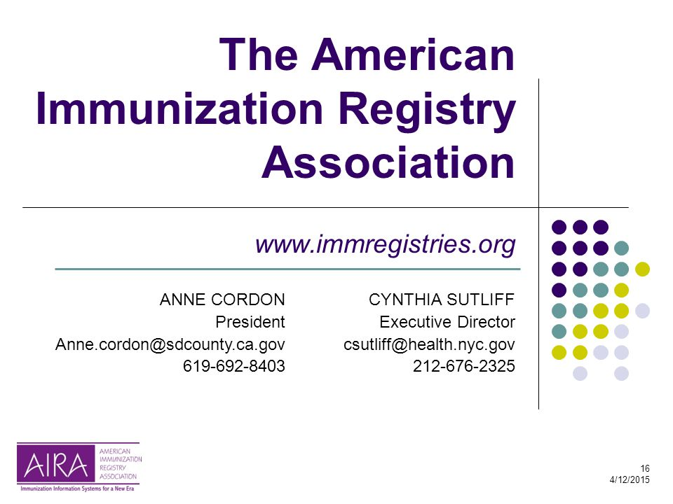 16 4/12/2015 The American Immunization Registry Association www.immregistries.org ANNE CORDON President Anne.cordon@sdcounty.ca.gov 619-692-8403 CYNTH