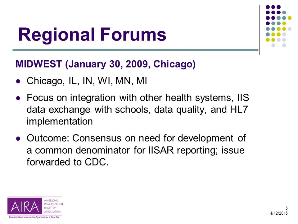 5 4/12/2015 Regional Forums MIDWEST (January 30, 2009, Chicago) Chicago, IL, IN, WI, MN, MI Focus on integration with other health systems, IIS data exchange with schools, data quality, and HL7 implementation Outcome: Consensus on need for development of a common denominator for IISAR reporting; issue forwarded to CDC.