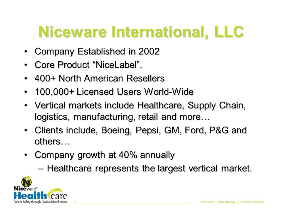 Niceware International All rights reserved2 Niceware International, LLC Company Established in 2002Company Established in 2002 Core Product NiceLabel .Core Product NiceLabel .