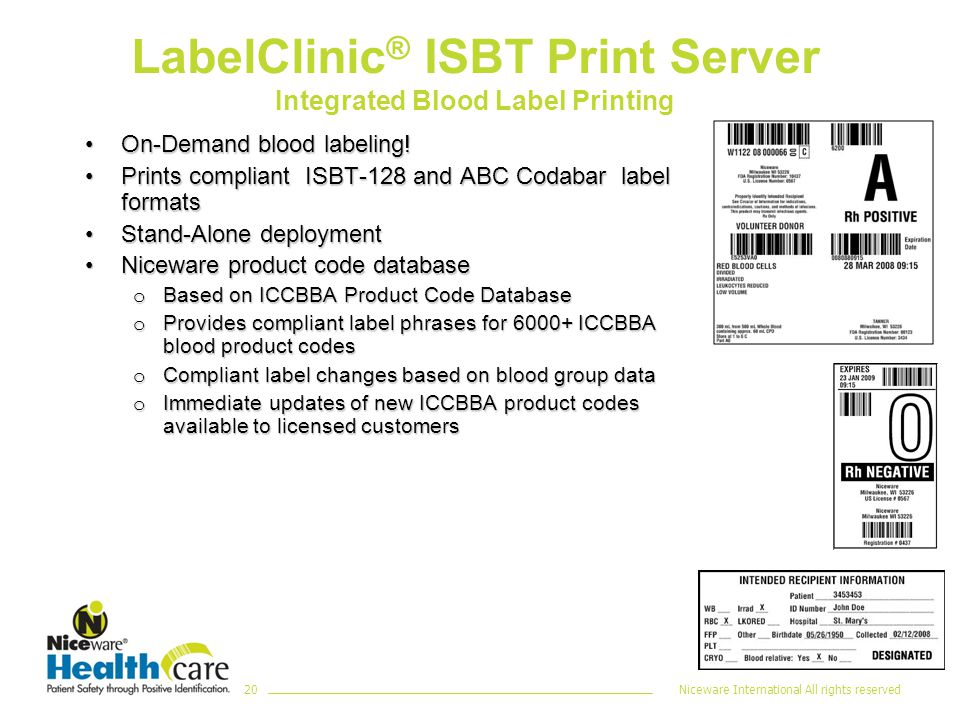Niceware International All rights reserved20 LabelClinic ® ISBT Print Server Integrated Blood Label Printing On-Demand blood labeling!On-Demand blood labeling.