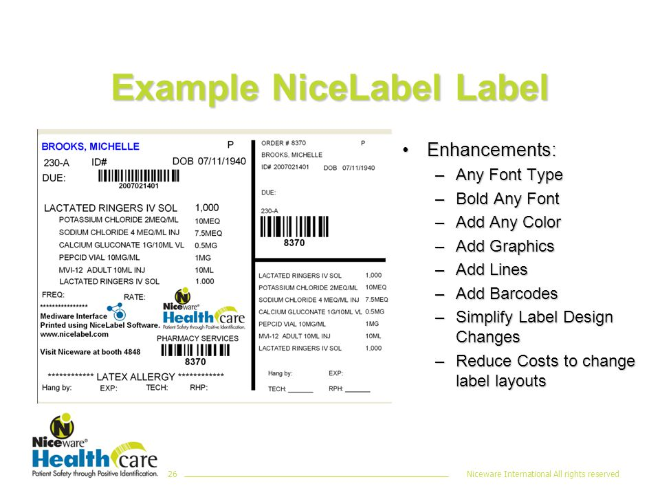 Niceware International All rights reserved26 Example NiceLabel Label Enhancements:Enhancements: –Any Font Type –Bold Any Font –Add Any Color –Add Graphics –Add Lines –Add Barcodes –Simplify Label Design Changes –Reduce Costs to change label layouts
