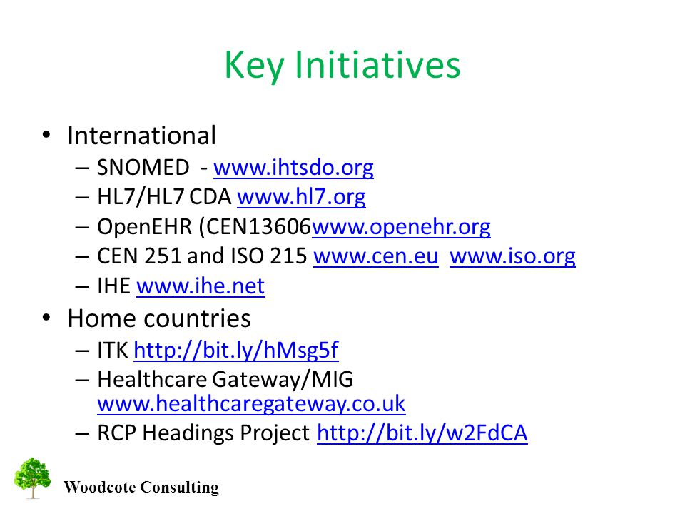 Woodcote Consulting Key Initiatives International – SNOMED -   – HL7/HL7 CDA   – OpenEHR (CEN13606www.openehr.orgwww.openehr.org – CEN 251 and ISO – IHE   Home countries – ITK   – Healthcare Gateway/MIG     – RCP Headings Project