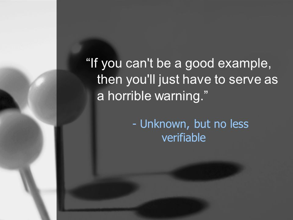 - Unknown, but no less verifiable If you can t be a good example, then you ll just have to serve as a horrible warning.