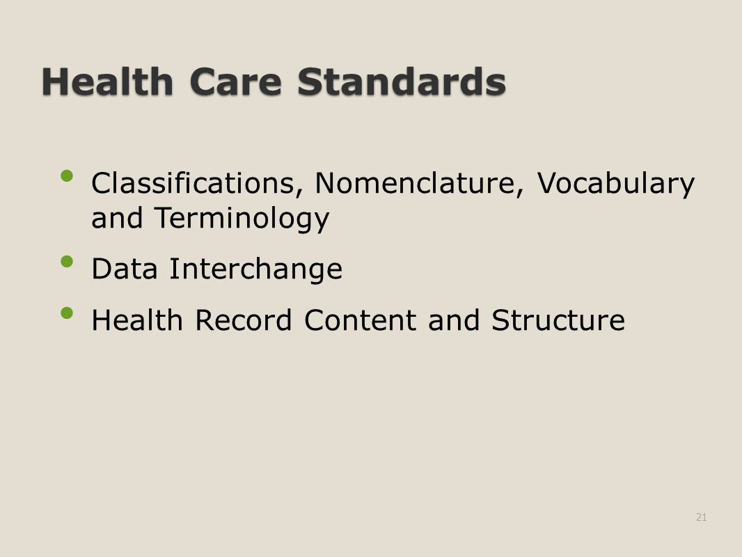 Health Care Standards Classifications, Nomenclature, Vocabulary and Terminology Data Interchange Health Record Content and Structure 21