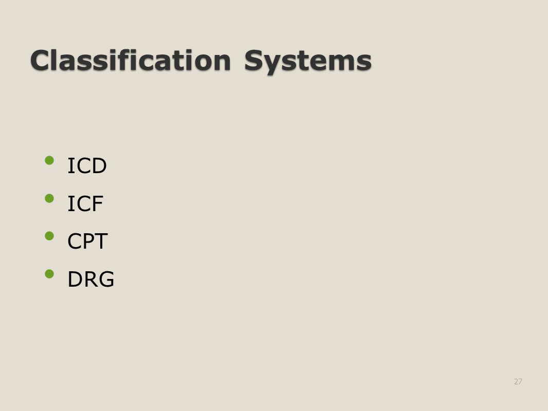Classification Systems ICD ICF CPT DRG 27