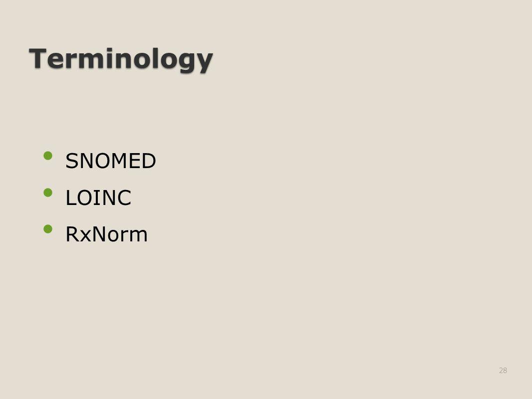 Terminology SNOMED LOINC RxNorm 28