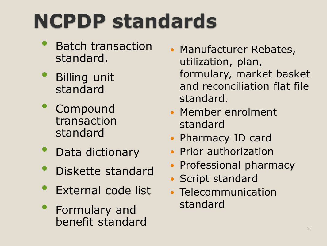 NCPDP standards Batch transaction standard.