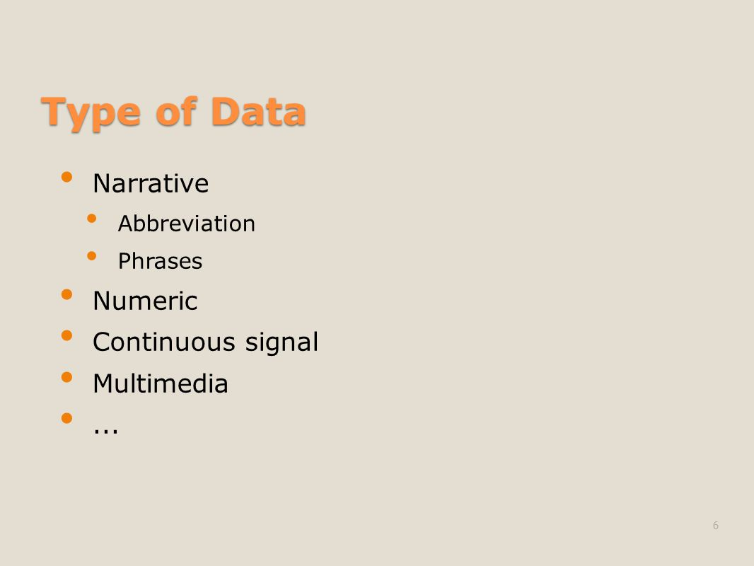 Type of Data Narrative Abbreviation Phrases Numeric Continuous signal Multimedia... 6