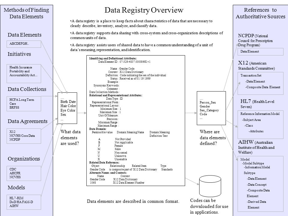 Methods of Finding Data Elements Data Registry Overview … Birth Date Hair Color Eye Color Sex...