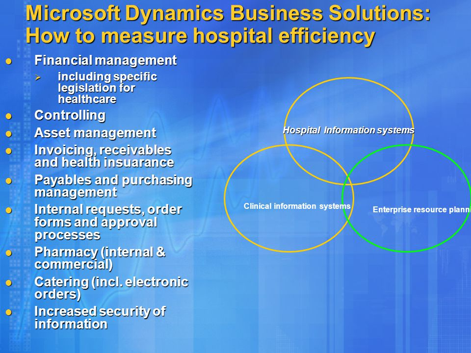 Microsoft Dynamics Business Solutions: How to measure hospital efficiency Financial management Financial management  including specific legislation f