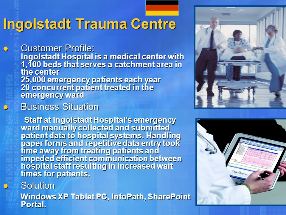 Ingolstadt Trauma Centre Customer Profile: Ingolstadt Hospital is a medical center with 1,100 beds that serves a catchment area in the center 25,000 e