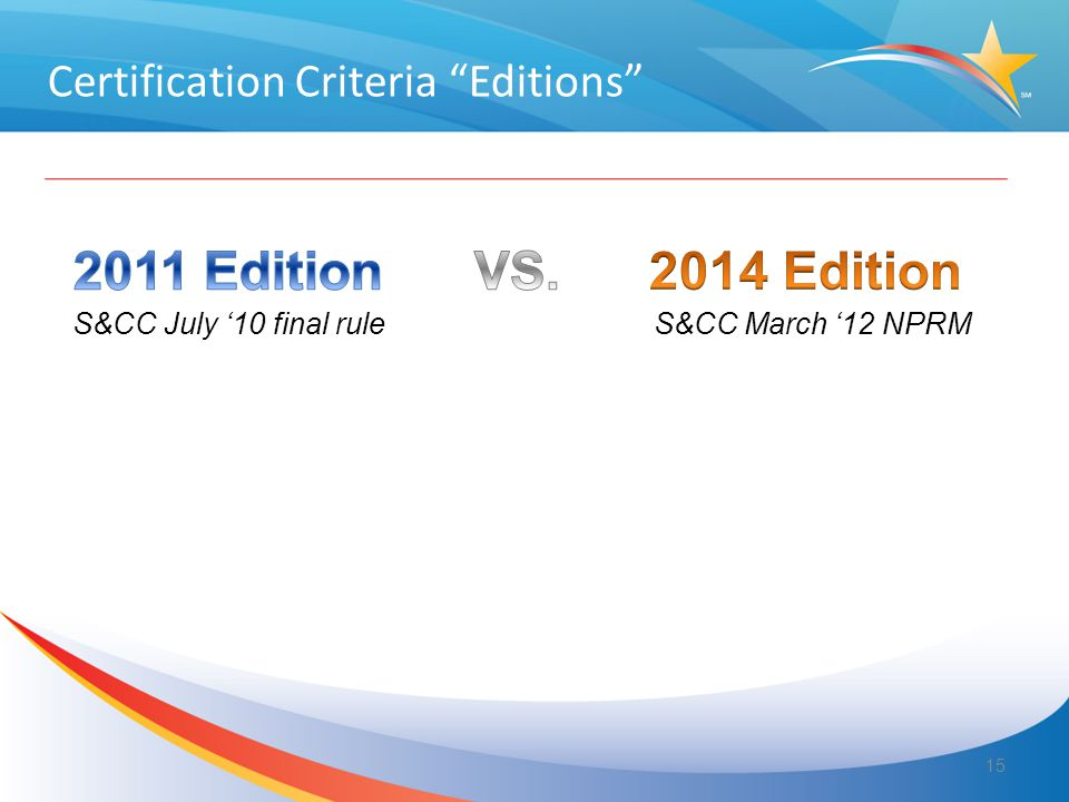 "S&CC July '10 final rule S&CC March '12 NPRM Certification Criteria ""Editions"" 15"