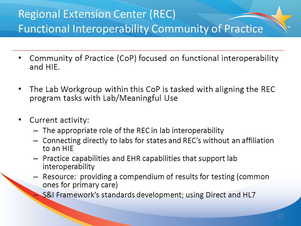 Regional Extension Center (REC) Functional Interoperability Community of Practice Community of Practice (CoP) focused on functional interoperability and HIE.
