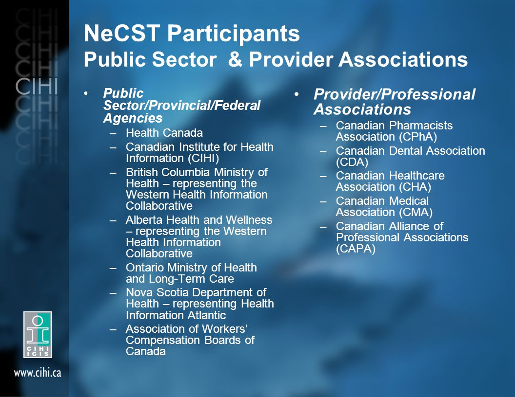 NeCST Participants Public Sector & Provider Associations Public Sector/Provincial/Federal Agencies –Health Canada –Canadian Institute for Health Infor