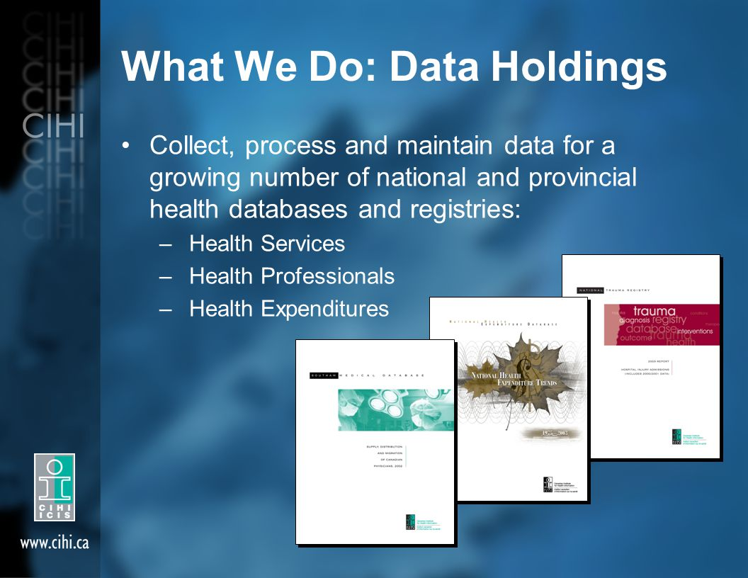 What We Do: Data Holdings Collect, process and maintain data for a growing number of national and provincial health databases and registries: – Health Services – Health Professionals – Health Expenditures