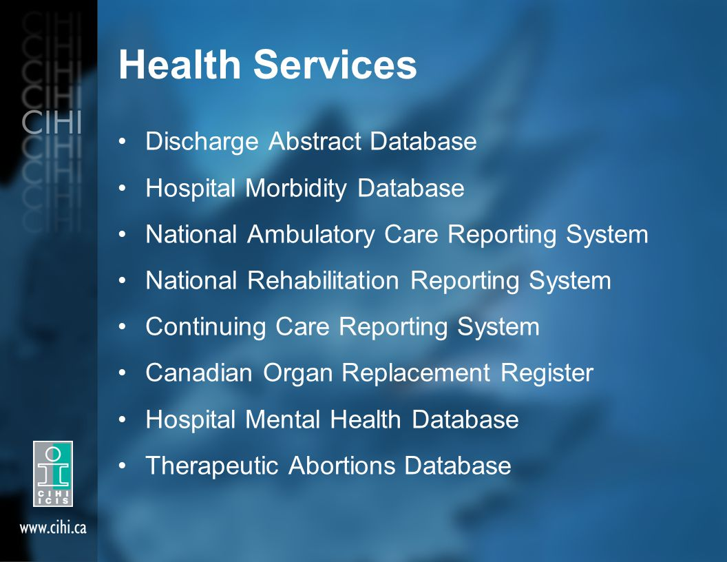Health Services Discharge Abstract Database Hospital Morbidity Database National Ambulatory Care Reporting System National Rehabilitation Reporting System Continuing Care Reporting System Canadian Organ Replacement Register Hospital Mental Health Database Therapeutic Abortions Database