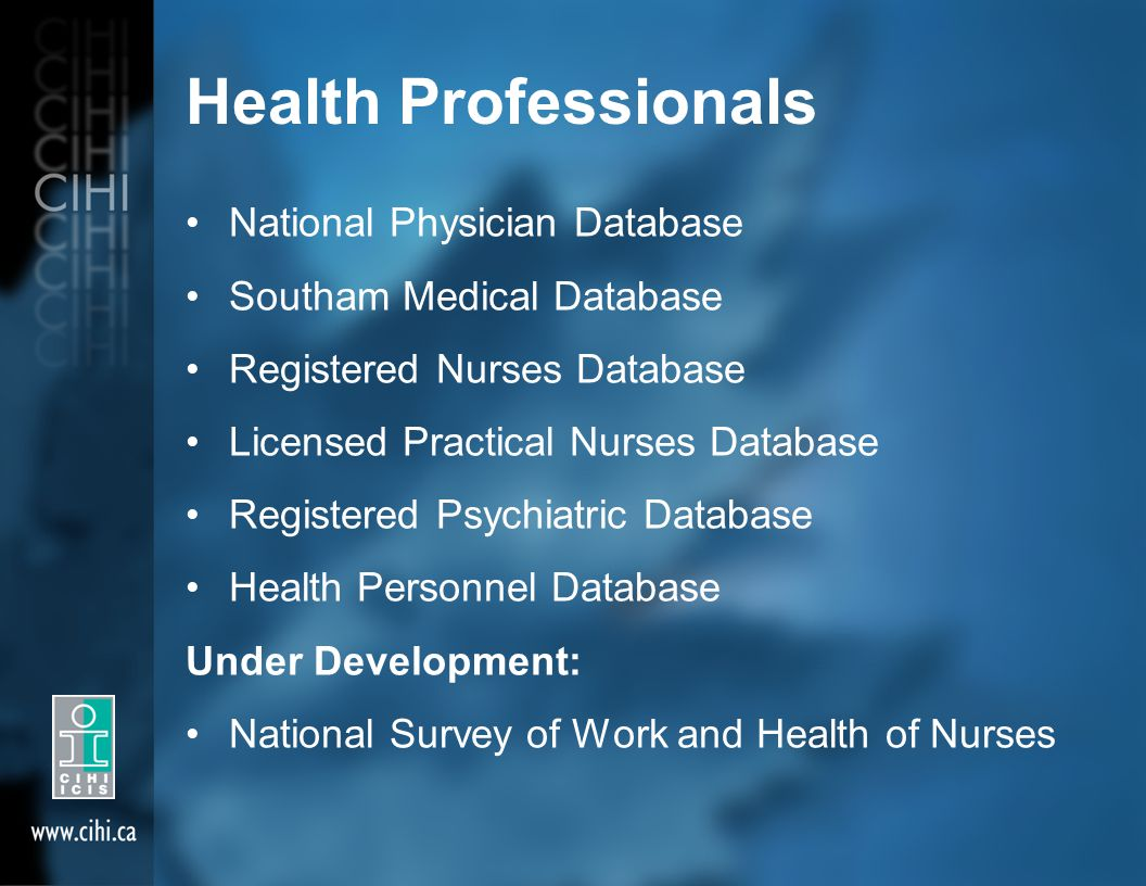 Health Professionals National Physician Database Southam Medical Database Registered Nurses Database Licensed Practical Nurses Database Registered Psy