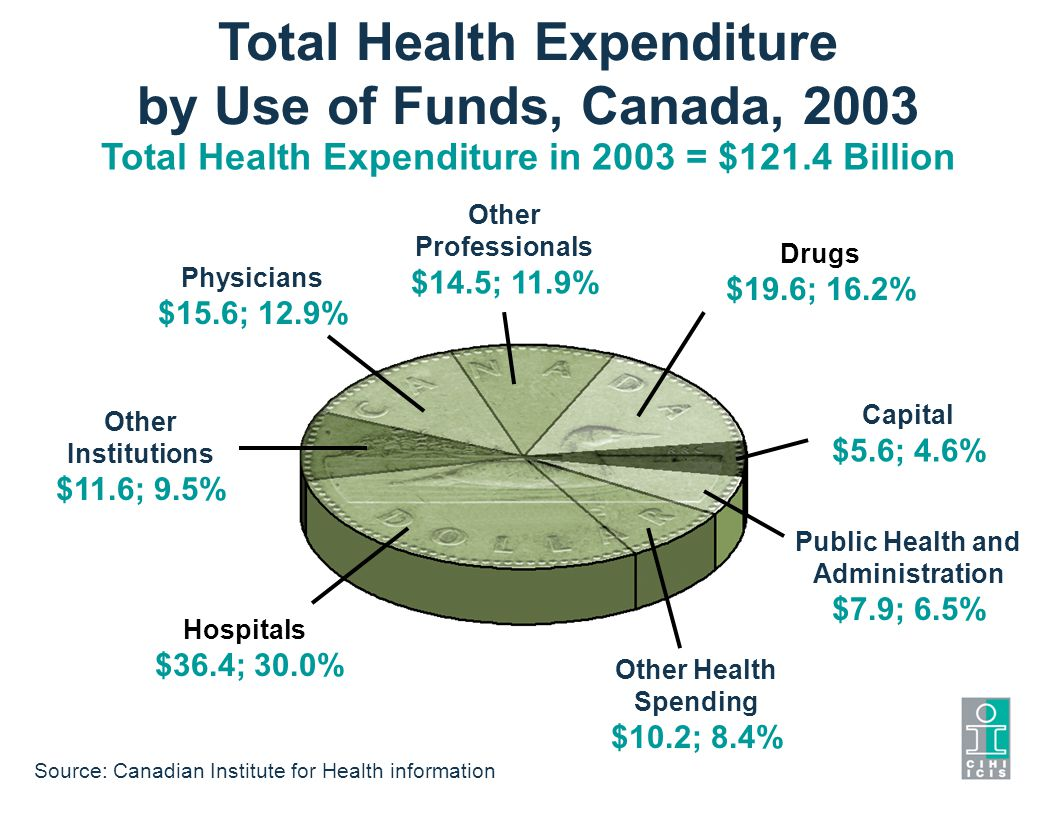 Total Health Expenditure by Use of Funds, Canada, 2003 Total Health Expenditure in 2003 = $121.4 Billion Other Professionals $14.5; 11.9% Capital $5.6; 4.6% Public Health and Administration $7.9; 6.5% Other Health Spending $10.2; 8.4% Hospitals $36.4; 30.0% Other Institutions $11.6; 9.5% Physicians $15.6; 12.9% Drugs $19.6; 16.2% Source: Canadian Institute for Health information
