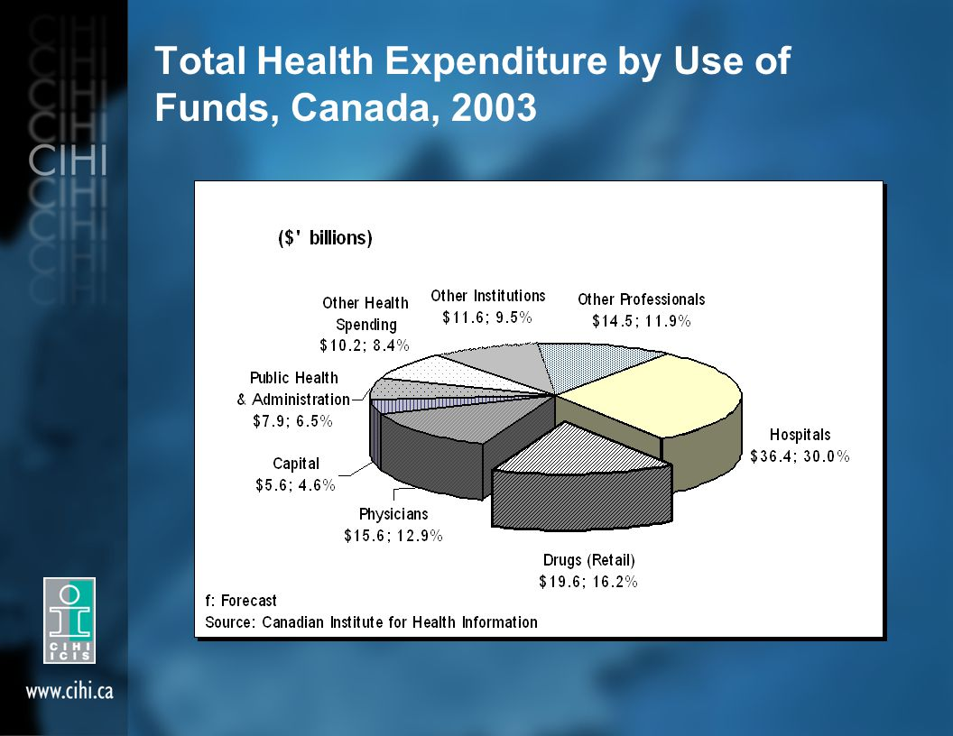 Total Health Expenditure by Use of Funds, Canada, 2003