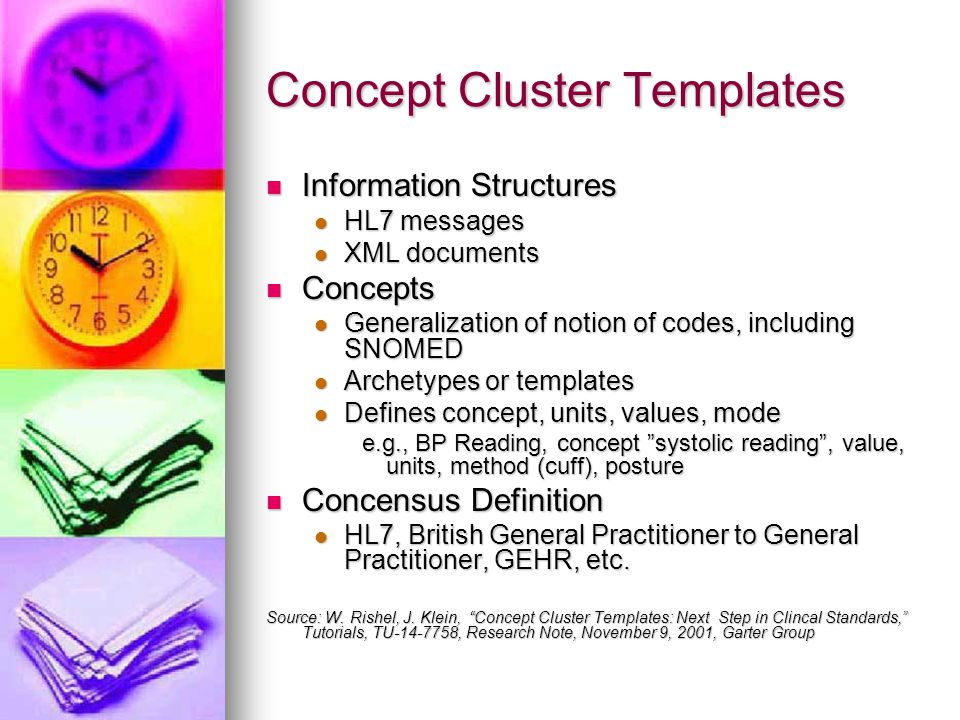 Concept Cluster Templates Information Structures Information Structures HL7 messages HL7 messages XML documents XML documents Concepts Concepts Genera