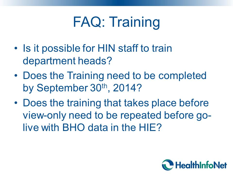 FAQ: Training Is it possible for HIN staff to train department heads.