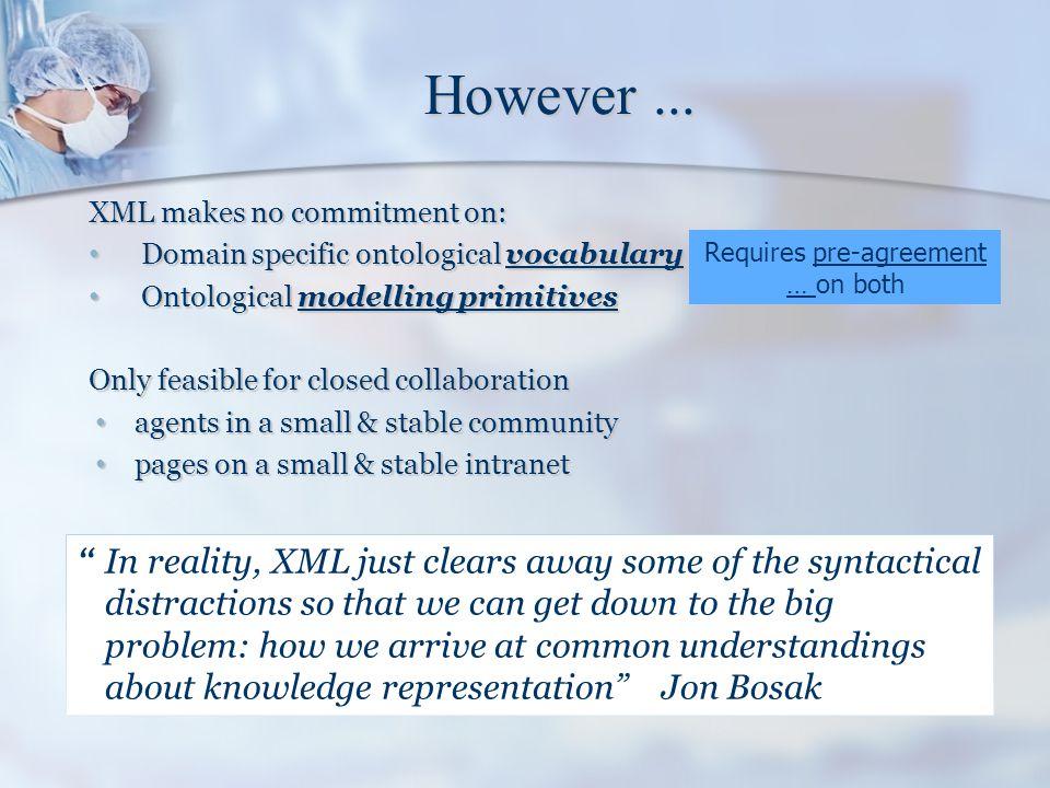 However... XML makes no commitment on: Domain specific ontological vocabulary Domain specific ontological vocabulary Ontological modelling primitives