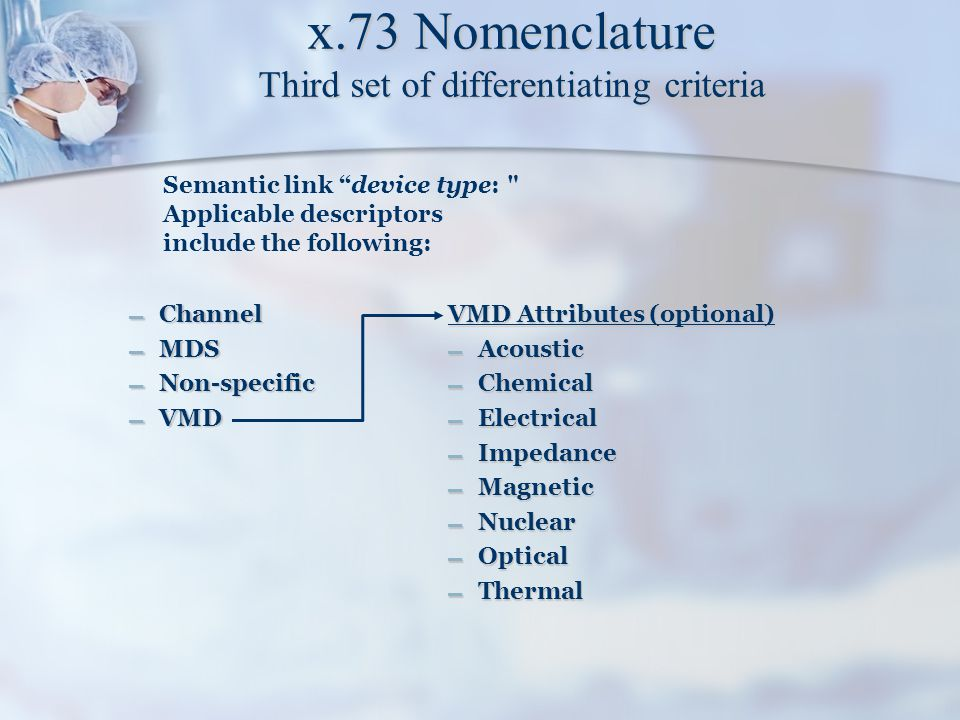 """x.73 Nomenclature Third set of differentiating criteria – Channel – MDS – Non-specific – VMD Semantic link """"device type:"""