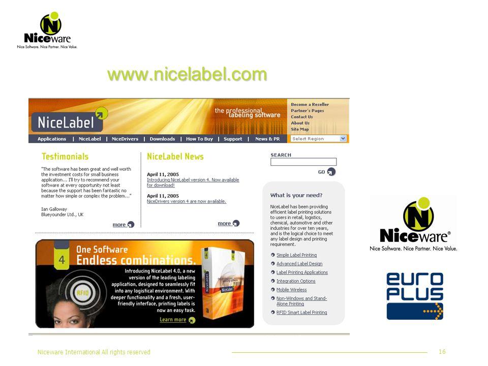 Niceware International All rights reserved 16 www.nicelabel.com