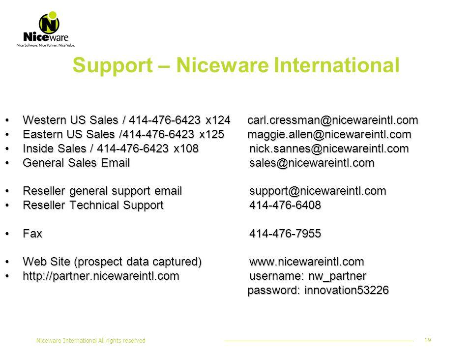 Niceware International All rights reserved 19 Support – Niceware International Western US Sales / 414-476-6423 x124 carl.cressman@nicewareintl.comWestern US Sales / 414-476-6423 x124 carl.cressman@nicewareintl.com Eastern US Sales /414-476-6423 x125 maggie.allen@nicewareintl.comEastern US Sales /414-476-6423 x125 maggie.allen@nicewareintl.com Inside Sales / 414-476-6423 x108 nick.sannes@nicewareintl.comInside Sales / 414-476-6423 x108 nick.sannes@nicewareintl.com General Sales Email sales@nicewareintl.comGeneral Sales Email sales@nicewareintl.com Reseller general support email support@nicewareintl.comReseller general support email support@nicewareintl.com Reseller Technical Support 414-476-6408Reseller Technical Support 414-476-6408 Fax 414-476-7955Fax 414-476-7955 Web Site (prospect data captured) www.nicewareintl.comWeb Site (prospect data captured) www.nicewareintl.com http://partner.nicewareintl.com username: nw_partnerhttp://partner.nicewareintl.com username: nw_partner password: innovation53226 password: innovation53226