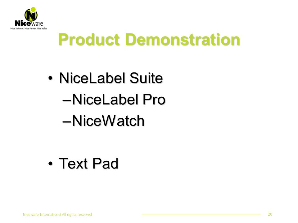 Niceware International All rights reserved 20 Product Demonstration NiceLabel SuiteNiceLabel Suite –NiceLabel Pro –NiceWatch Text PadText Pad