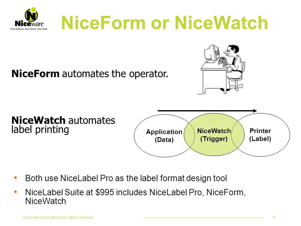 Niceware International All rights reserved 4 NiceForm automates the operator. NiceForm or NiceWatch Application (Data) Printer (Label) NiceWatch (Trig