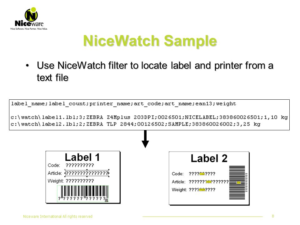 Niceware International All rights reserved 8 NiceWatch Sample Use NiceWatch filter to locate label and printer from a text fileUse NiceWatch filter to